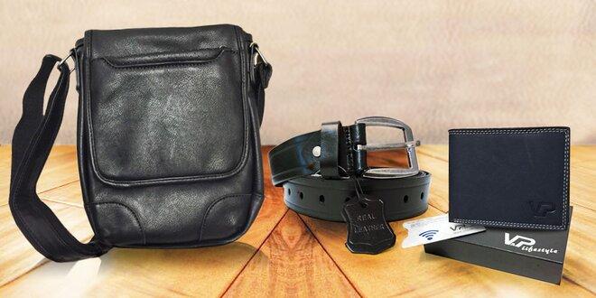 Set pro elegány: Kožená peněženka, pásek a taška
