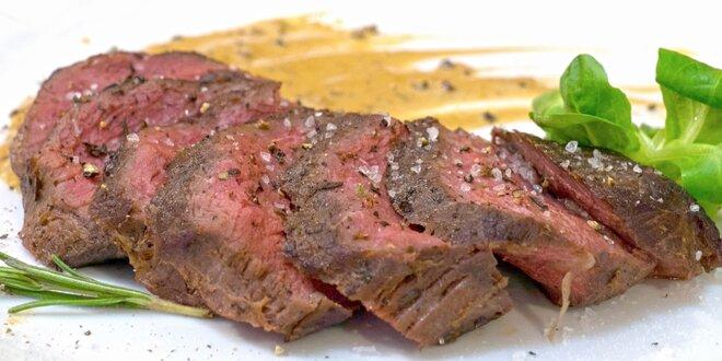 Dva 200g steaky z mladého býčka s přílohou