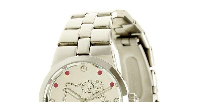 Stříbrné dívčí analogové ocelové hodinky se skleněnými krystaly Hello Kitty 7ee937983e