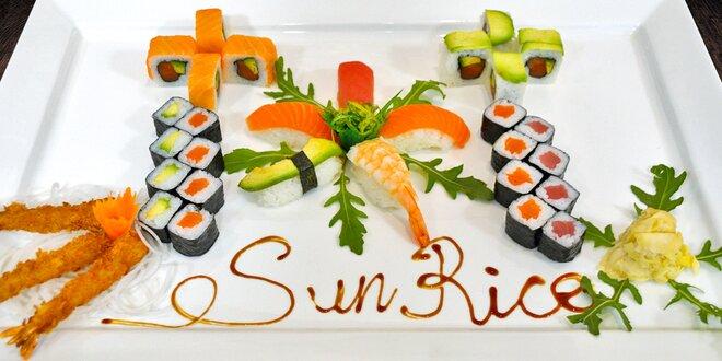 32 kousků sushi s krevetami, lososem i tuňákem