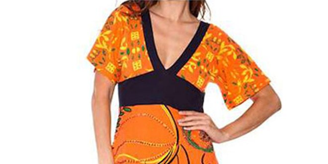 Dámské oranžovo-černé šaty Sandalo