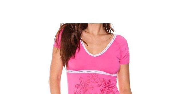 Dámské růžové tričko s bílými lemy a flitry Sandalo