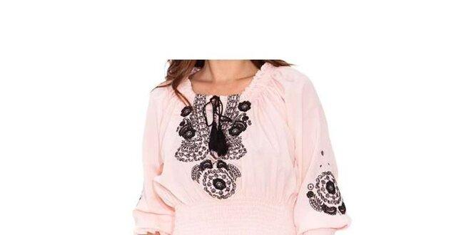 Dámská růžová blůzka Sandalo s černou výšivkou