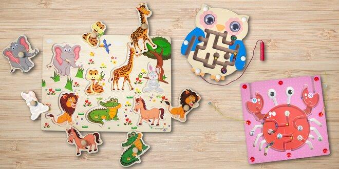 Dřevěné hračky: vkládačky a labyrint