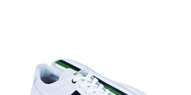 Pánské bílé kožené tenisky s modro-zelenými detaily Lacoste