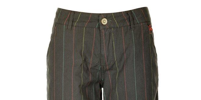 Dámské šedé šortky s barevnými proužky Fundango