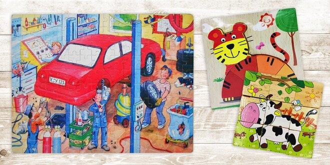 Dětské dřevěné hračky: Puzzle, kostky i skládačky