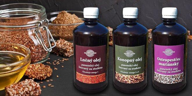 Ostropestřcový, lněný nebo konopný panenský olej