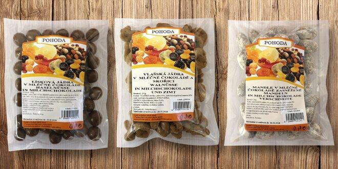 Ovoce, ořechy a mandle v mléčné čokoládě Pohoda