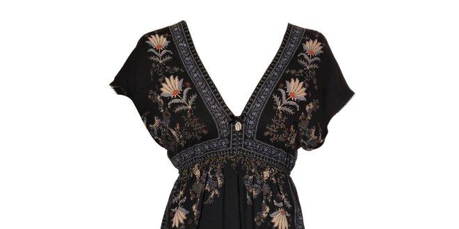 Dámské černé šaty Vive Maria s exotickým potiskem