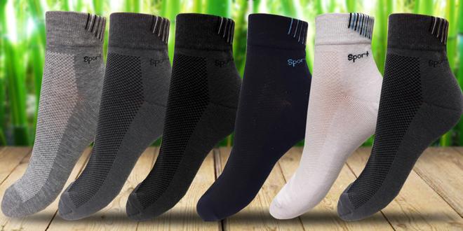 Balení 6 párů sportovních bambusových ponožek