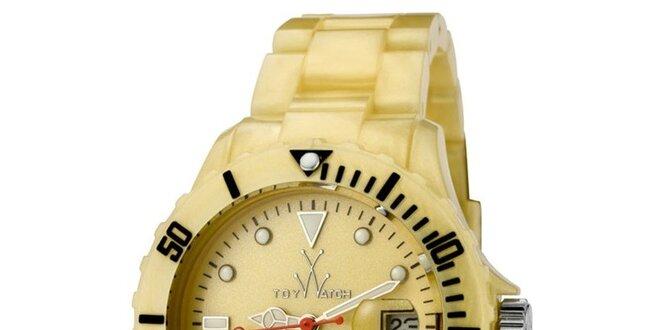 144c16315bc Zlaté plastové hodinky Toy s perleťovým povrchem