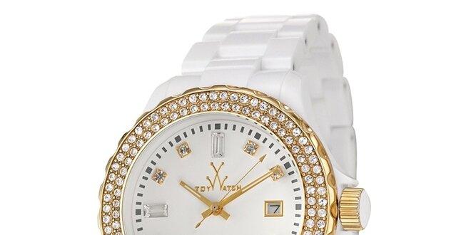 Dámské bílé plastové hodinky Toy s krystaly Swarovski Elements a zlatými  detaily 2dcecf3edc
