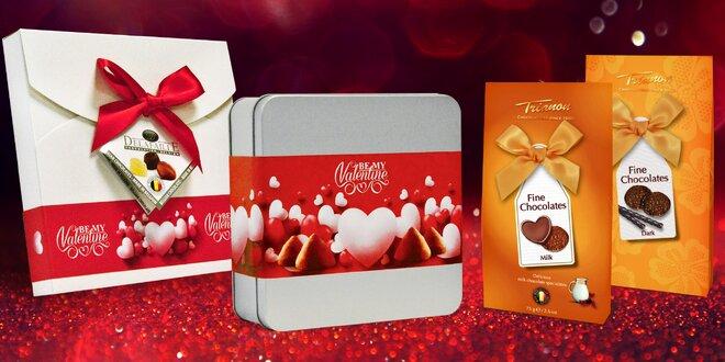 Valentýnské belgické čokoládové pralinky nebo lanýže