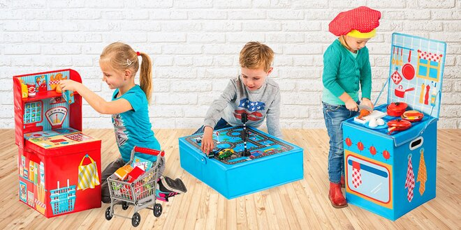 Boxy na hračky: Garáž, kuchyň nebo obchod s výbavou