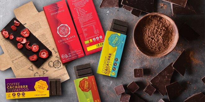 Bio čokoládové tyčinky a čokolády i pro vegany