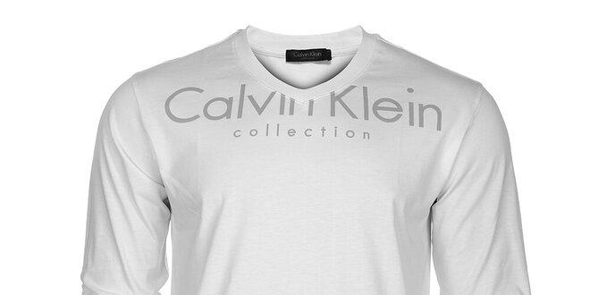Pánské bílé tričko CK Calvin Klein s šedým potiskem  ad2bd90bd88