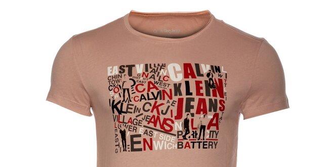 50e75e3061dd Pánské světle růžové tričko Calvin Klein s barevným potiskem ...