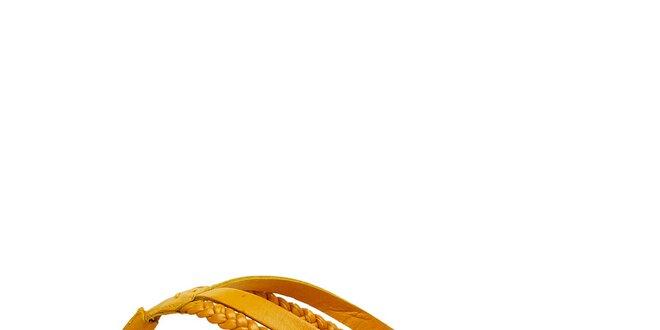 Dámské kanárkově žluté kožené žabky Levis