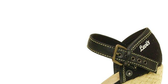 Dámské černé sandály Levis na jutovém klínu