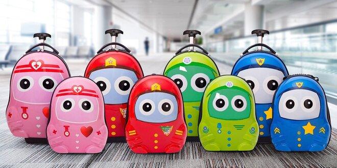 Dětský skořepinový kufr na kolečkách s batohem