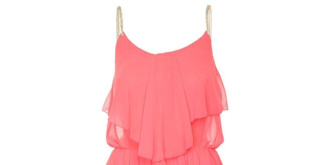 c12a0b2263d Dámské neonově růžové letní šaty se zlatými ramínky Liza Too ...