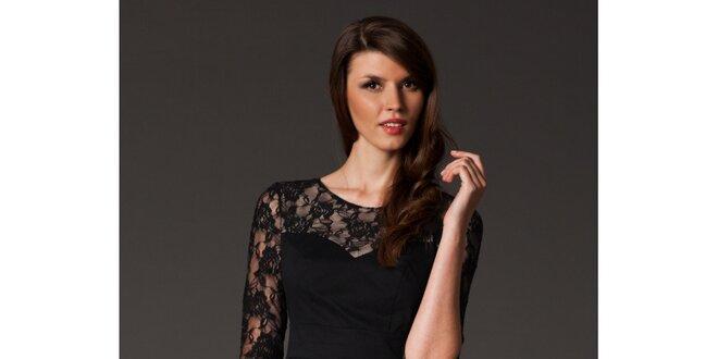 Dámské černé šaty s krajkou Figl