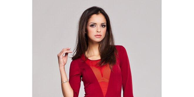 Dámské rubínově červené svůdné šaty s transparentním véčkem Figl
