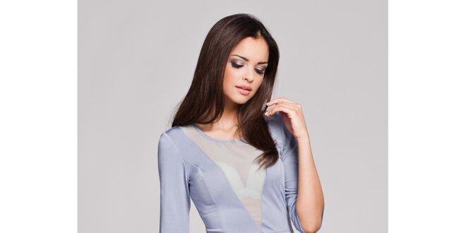 Dámské světle šedé svůdné šaty s transparentním véčkem Figl