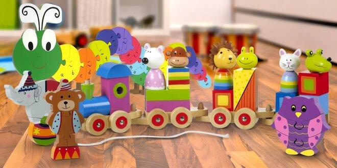 Dřevěné hračky a skládačky ve tvaru zvířátek