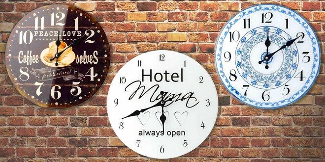 Skleněné nástěnné hodiny do kavárny i kuchyně