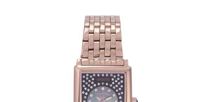 Dámské zlaté analogové hodinky s krystaly Swarovski Lancaster ... 44f4b8545f