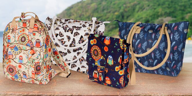 Dámské plátěné tašky a batohy veselých barev