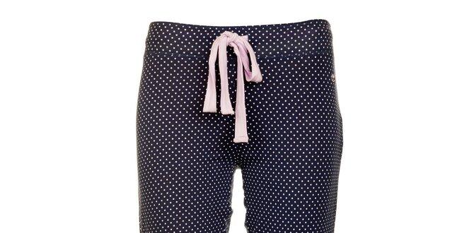 Dámské tmavě modré pyžamové capri kalhoty Tom Tailor s bílými puntíky fa4a1419d5