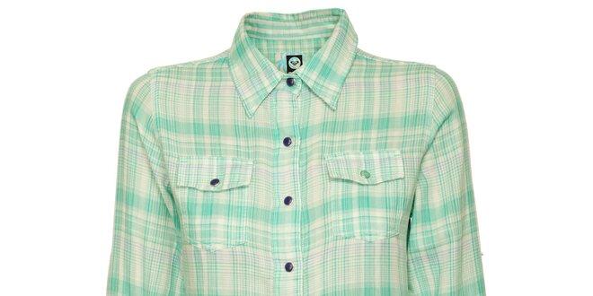 Dámská matové zelená kostkovaná košile Roxy  66a6113fcb