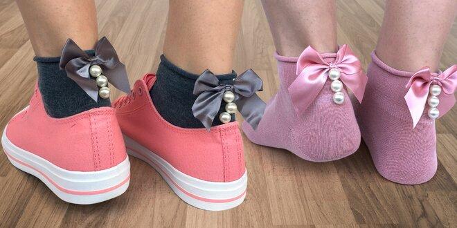 Dámské ponožky s mašlí a perlami