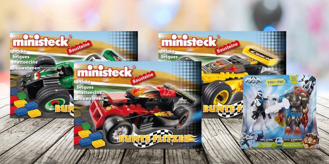 Stavebnice, auta a bojové figurky od Ministeck