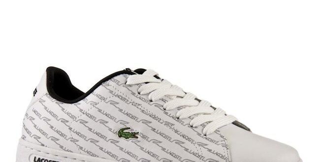 Dámské bílé kožené boty Lacoste s šedým potiskem  c6b111aa97