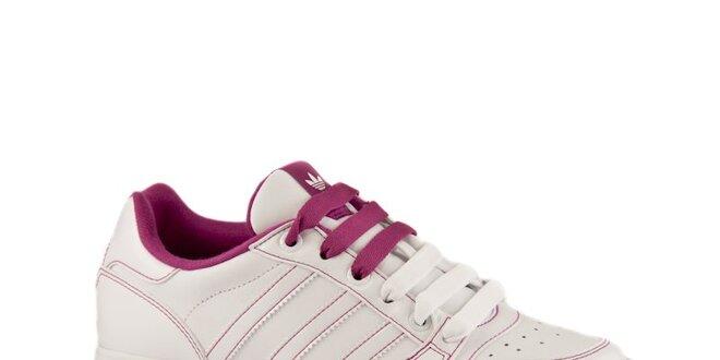 cae345823c6 Dámské bílé kožené tenisky Adidas s růžovými detaily