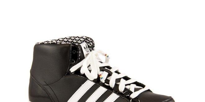 77fd4f19f03 Černé kožené kotníkové tenisky Adidas s bílými proužky