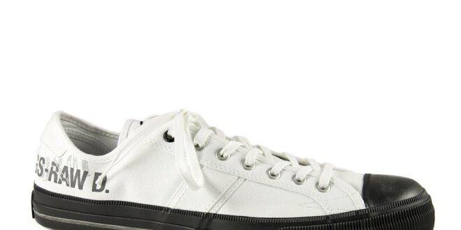 987aff1fd66 Pánské bílé textilní tenisky G-Star Raw s černou gumou