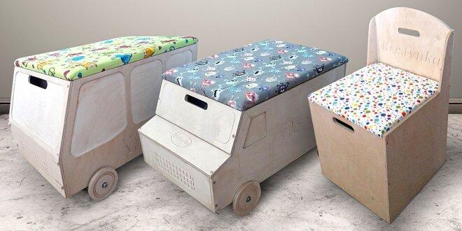 Dětské polstrované sedátko a úložný box v jednom