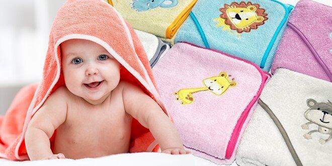 Roztomilá dětská osuška s kapucí a mycí žínka