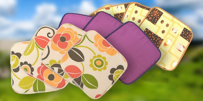 Set 4 lemovaných sedáků v různých barvách