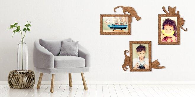 4 samolepicí rámečky z korku na fotky 10 x 15 cm