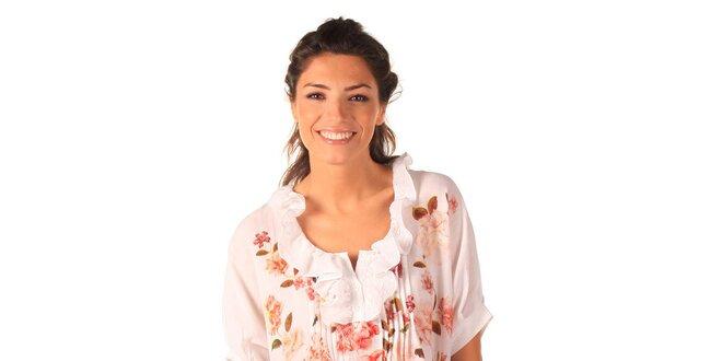 Dámské bílé vzdušné šaty s růžičkami a kanýrky Caniche