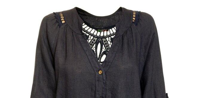 Dámská tmavě modrá lněná košile Puro Lino