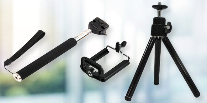 Mini foto selfie set - stativ, držák a selfie tyč