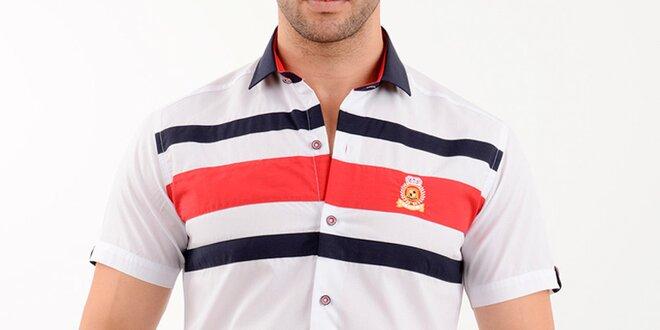 Pánská bílo-červená košile s krátkým rukávem Wessi