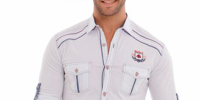 Pánská bílá košile s modrými lemy Wessi
